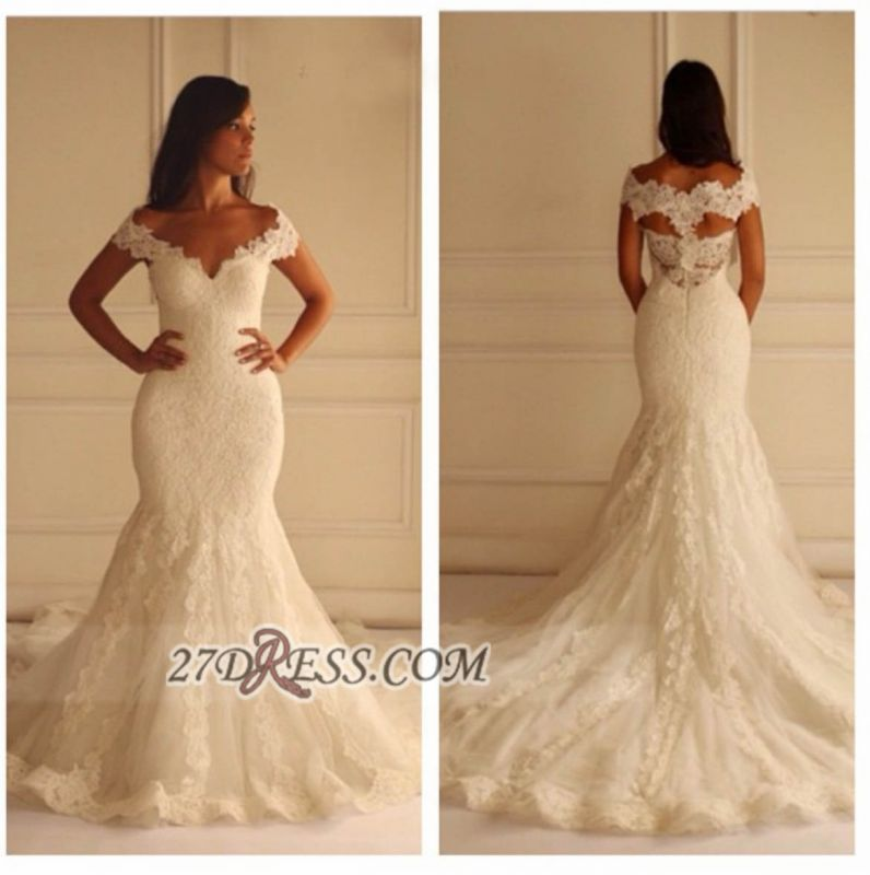 Elegant Off-shoulder Long Matermaid Wedding Dress With Lace Appliques