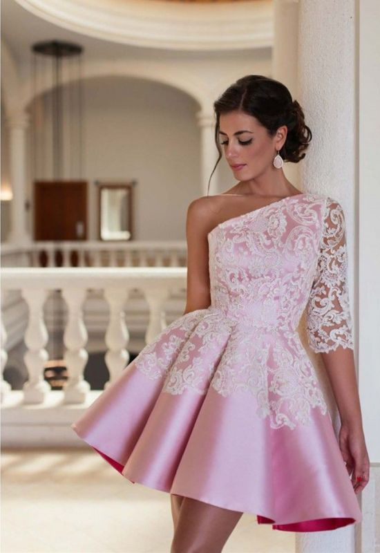 Lovely One Sleeve Lace Appliques Homecoming Dress 2020 Pink Short Prom Dress
