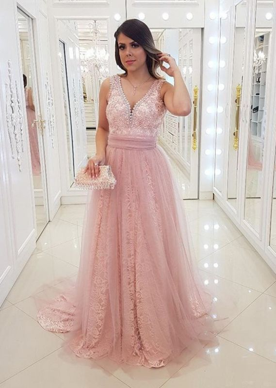 Charming Pink Sleeveless Lace Evening Gowns | Long V-Neck Empire Prom Dress 2020