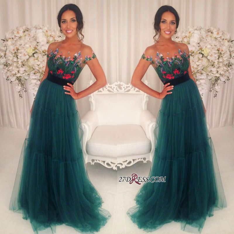 Green Appliques Short-Sleeves A-Line Tulle Prom Dresses BA6625