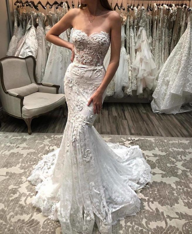 Charming Sweetheart Wedding Dresses Online | Mermaid Lace Appliques Bridal Gowns BC1056