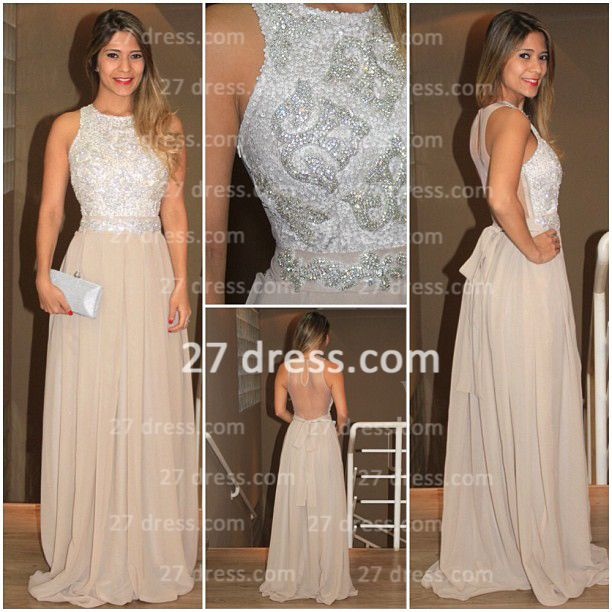 long high neck Lindo Vestido Evening dresses 2020 Chiffon Sequins Beaded Prom Gowns