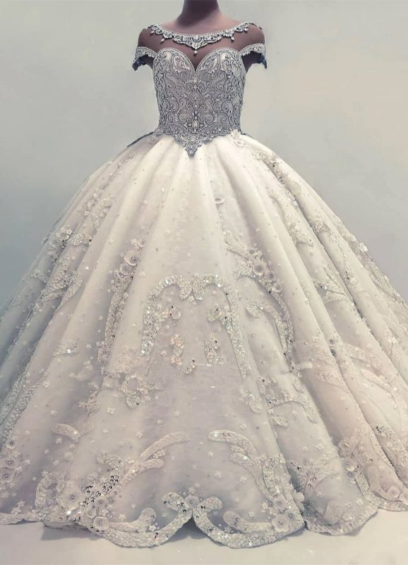 Newest Lace Crystals Short Sleeve Wedding Dress | 2020 Ball Gown Bridal Gown