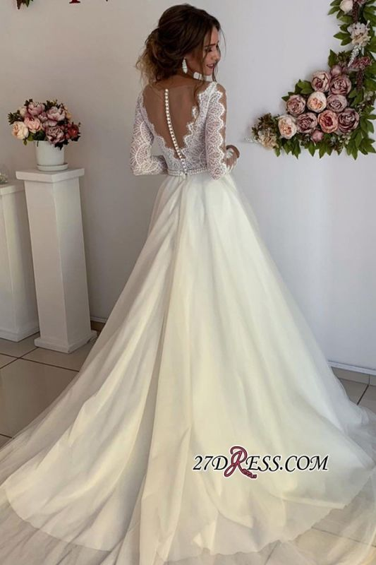 Floor-Length Long-Sleeves A-line Wonderful V-neck Lace Wedding Dresses