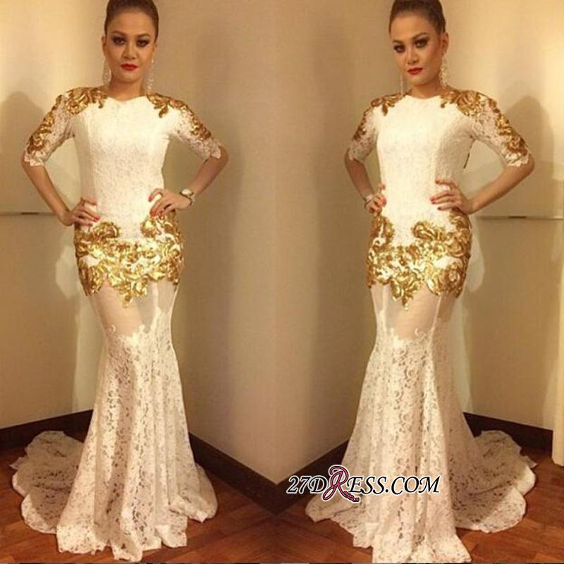 2020 Lace Mermaid Half-Sleeves Sexy Gold-Appliques Prom Dress