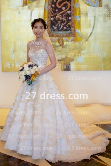 Beaded Bridal Wedding Dresses with Sheer Back 2020 Sexy Sleeveless Organza A-line Top Court Train Gowns Buttons