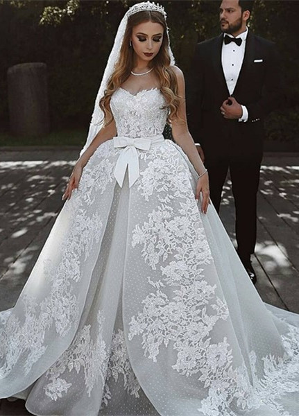 Gorgeous Sweetheart Lace Wedding Dress | 2020 Ruffles Bowknot Bridal Gowns BC0813