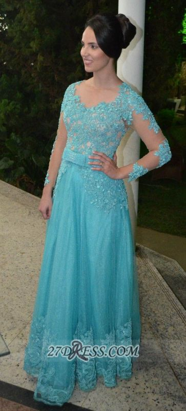 Luxurious Long Sleeve Beadings Prom Dress Floor-length Lace Appliques Evening Gown
