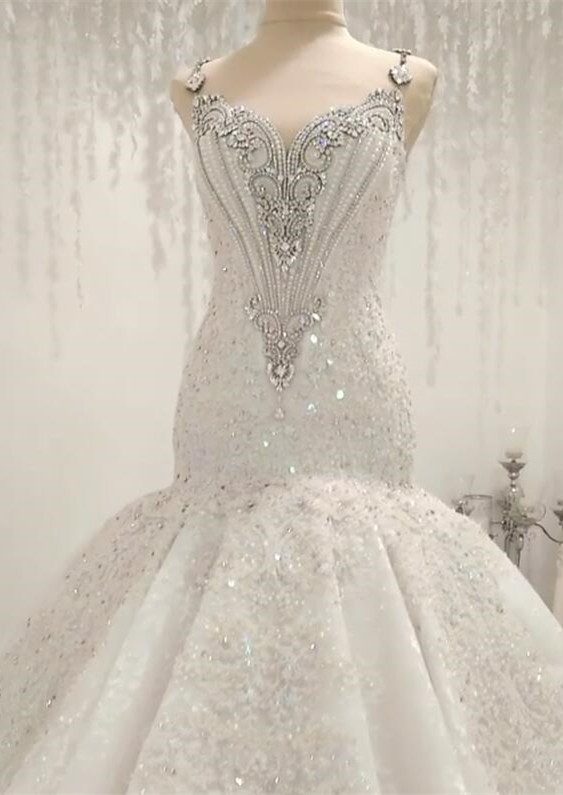 Luxurious 2020 Sleeveless Appliques Wedding Dress | Mermaid Beading Crystals Bridal Gown