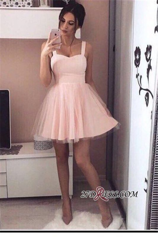 Pink Mini A-Line Straps Cheap Simple Tulle Homecoming Dresses