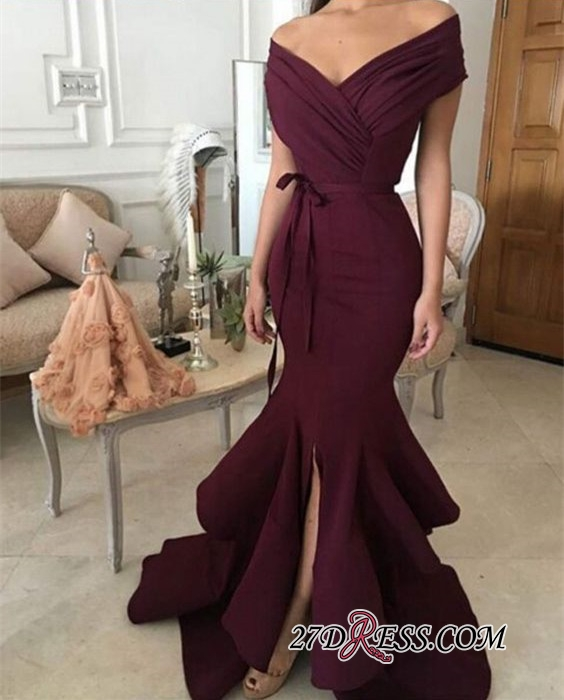 Burgundy off-shoulder Prom Dresses | 2020 Mermaid Evening Gowns With Ruffles