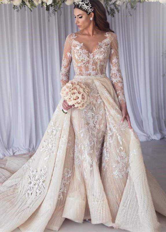 Sexy Long Sleeves Lace Wedding Dress | Mermaid Overskirt Bridal Gowns BC1390