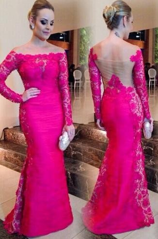 Newest Fuchsia Long Sleeve Mermaid Evening Dress 2020 Lace Off-the-shoulder