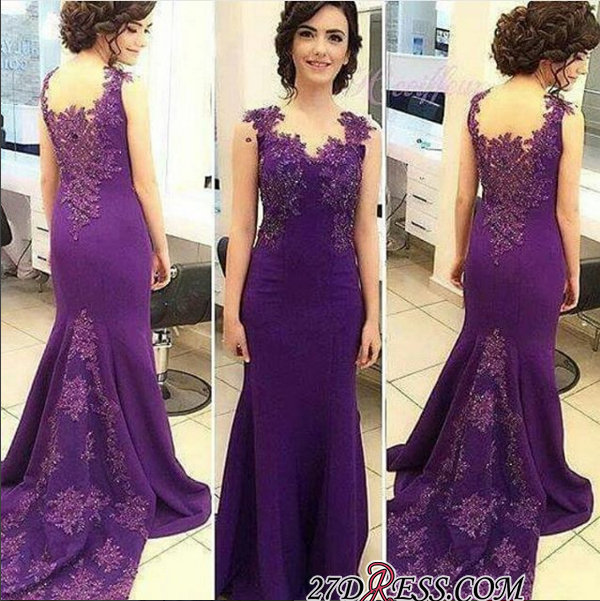 Lace-Appliques Sleeveless Long Purple Mermaid Evening Gowns