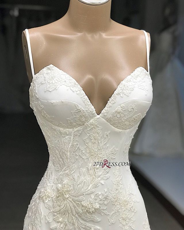 Appliques Glorious Mermaid Sleeveless Spaghetti-Straps Wedding Dresses