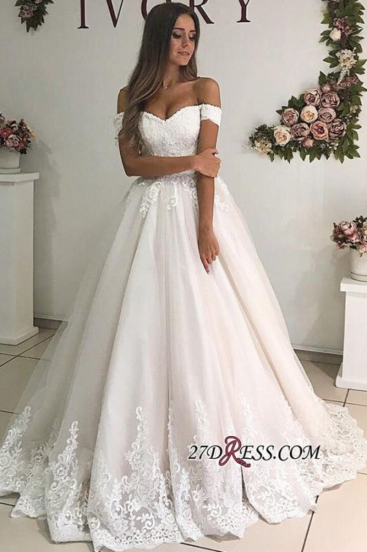 A-line Floor-Length Elegant Off-the-shoulder Appliques Wedding Dresses