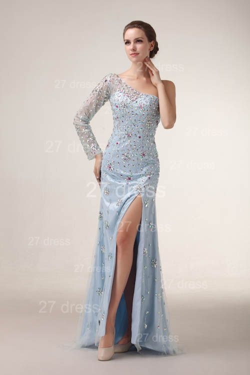 Sexy One Shoulder Tulle Prom Gowns Side Slit Crystal Evening Dresses
