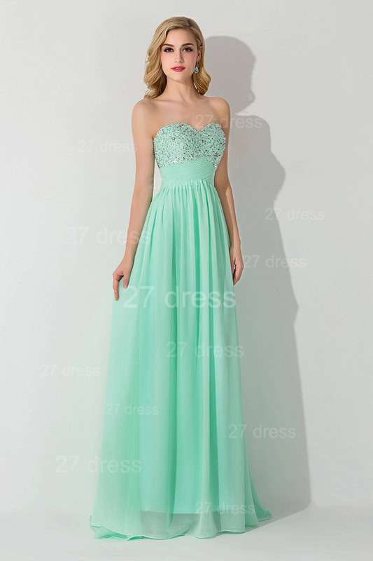 Modern Chiffon A-line Crystals Evening Dress Sweetheart Sleeveless