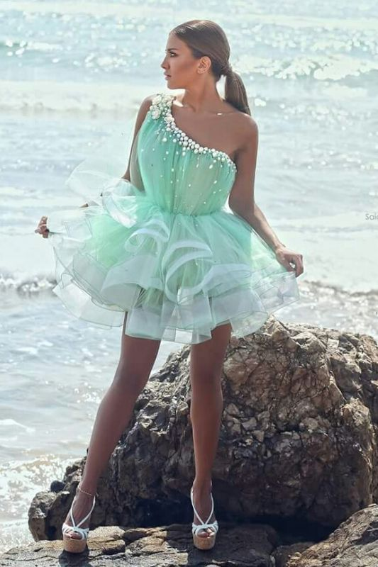 Modern One-shoulder Short Homecoming Dress With Beadings Ruffles