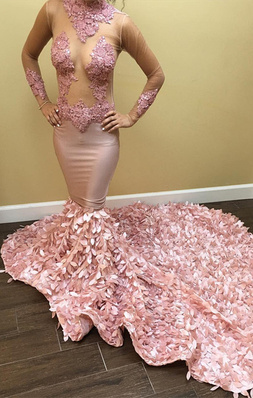 Long-Sleeve Pink Prom Dress | Lace Evening Gowns