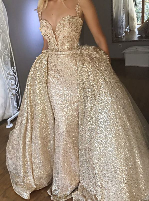 Gorgeous Spaghetti Strap Sleeveless Prom Dress | Golden Appliques Tulle Evening Gowns Overskirt BC0846