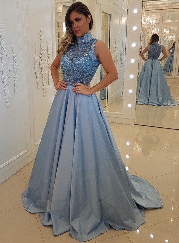 Glamorous High-Neck Sleeveless Beadings Prom Dress | Long Lace Appliques Evening Gowns BC1301