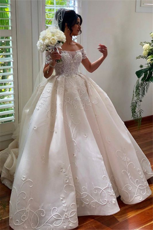 Glamorous Off-the-Shoulder Wedding Dress Appliques Sweep Train Ball Gowns