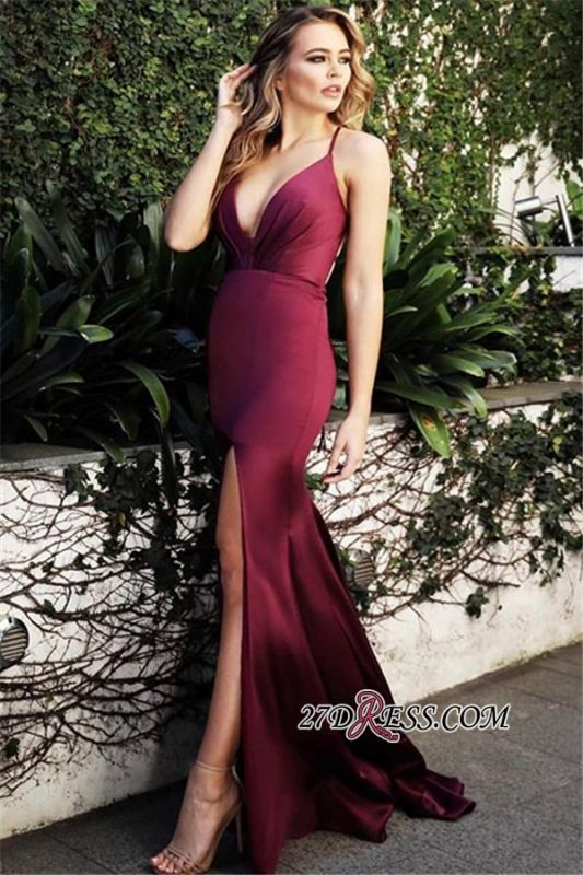 Simple Burgundy Mermaid Prom Dresses | Sexy Spaghetti Straps Side Slit Evening Dresses bc2138