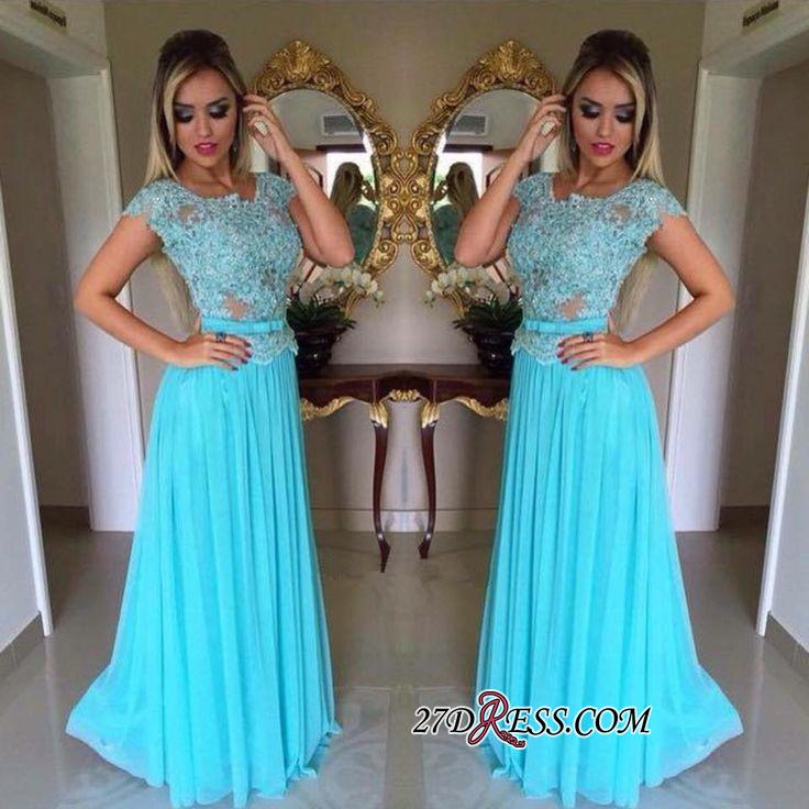 Appliques Chiffon Scoop Short-Sleeves A-Line Prom Dress
