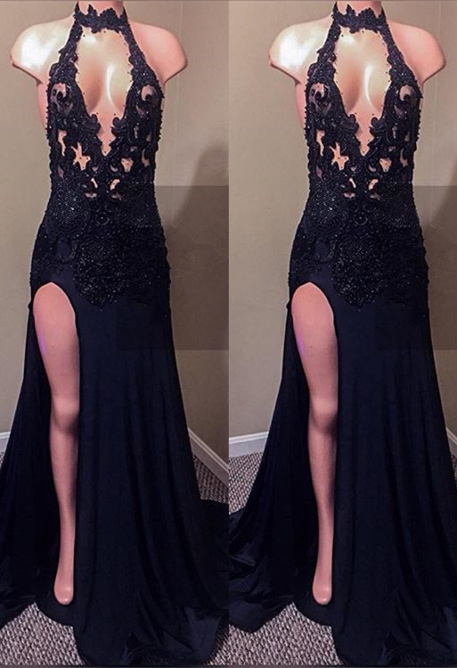Sexy Black Lace Prom Dresses | 2020 Mermaid Slit Evening Gowns