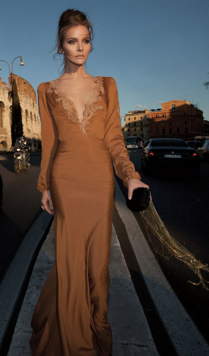Elegant Sexy V Neck Vintage Prom Dresses 2020 Bead Chiffon Formal Evening Gowns With Long Sleeve