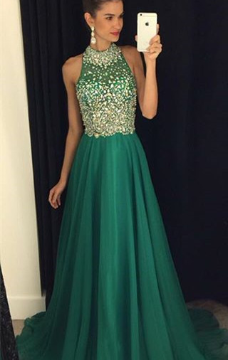 Gorgeous Crystals Halter Sleeveless 2020 Prom Dress A-line Sweep Train AP0