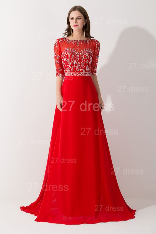 Glamorous Red Half Sleeve Evening Dress Chiffon Beadings