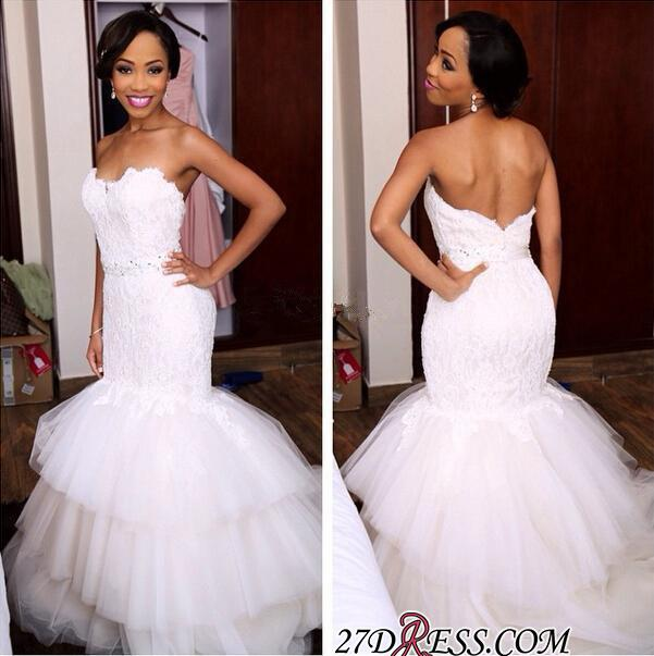 Tiered Tulle Sweetheart Appliques Newest Crystal Mermaid Wedding Dress