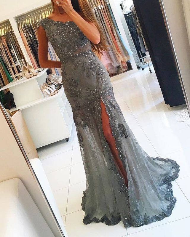 sexy One-Shoulder Empire Evening Gowns on Sale | Beadings Prom Dress 2020 With Split