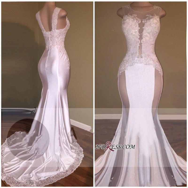 Sheer Lace White Beading Appliques Glossy Sexy Mermaid Prom Dresses