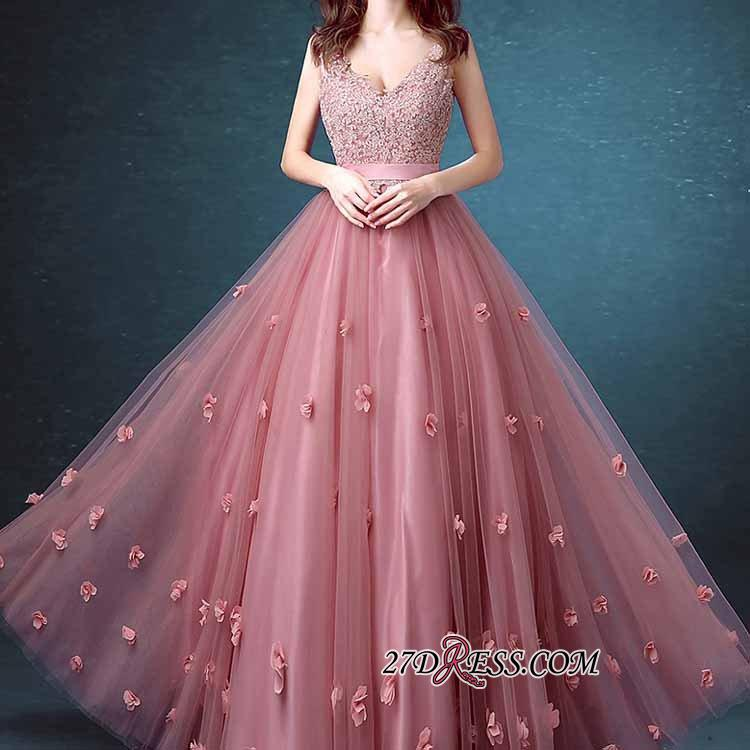 Beaded Long Lace Sleeveless A-line Floral-Appliques Prom Dresses
