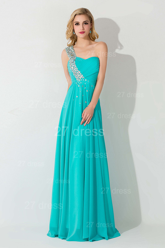 Modern One Shoulder Chiffon Evening Dress A-line Crystals Lace-up