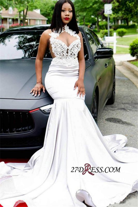 Gorgeous Halter Mermaid Lace Prom Dresses | 2020 Sleeveless Long Party Dresses BK0 BC1205