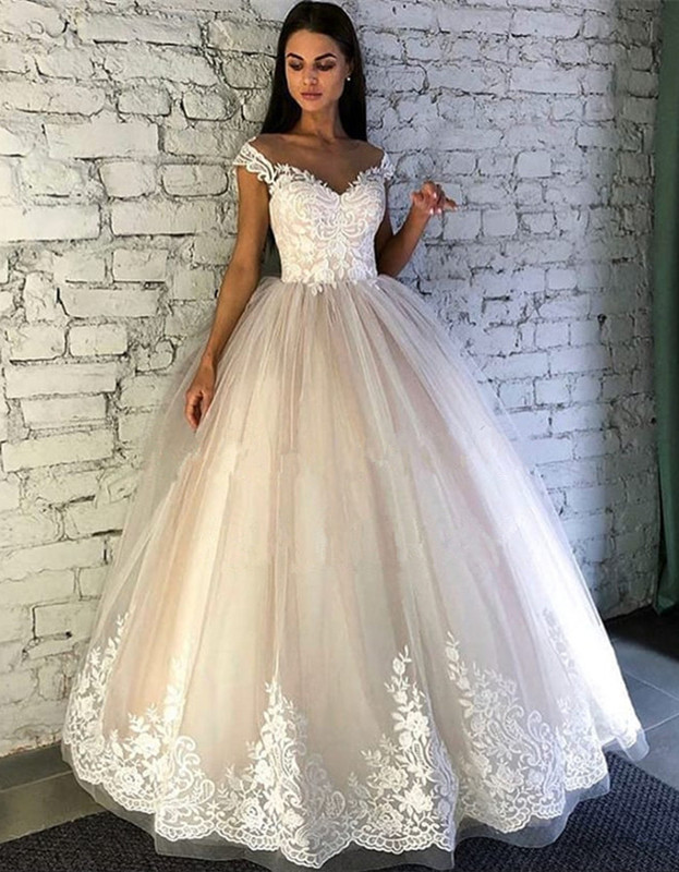 Gorgeous Crew Cap Sleeves Wedding Dress | Tulle Lace Bridal Gowns On Sale