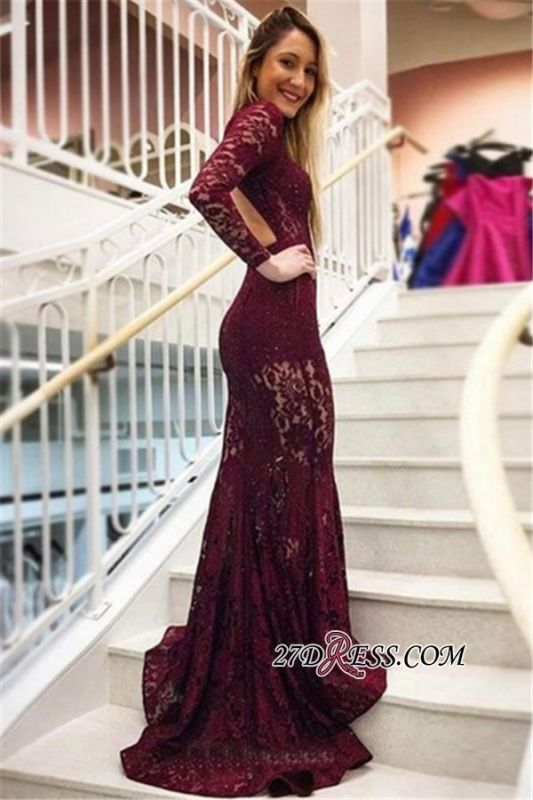 Elegant Long Sleeves High Neck Lace Formal Dresses | Cheap Appliques Backless Mermaid Prom Dresses