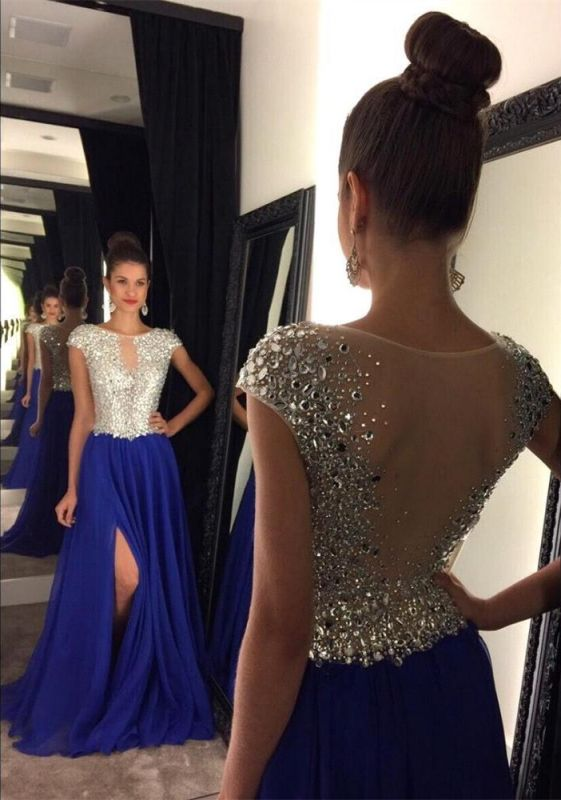Stunning Cap Sleeve Royal Blue Prom Dresses 2020 Long Chiffon With Crystals AP0