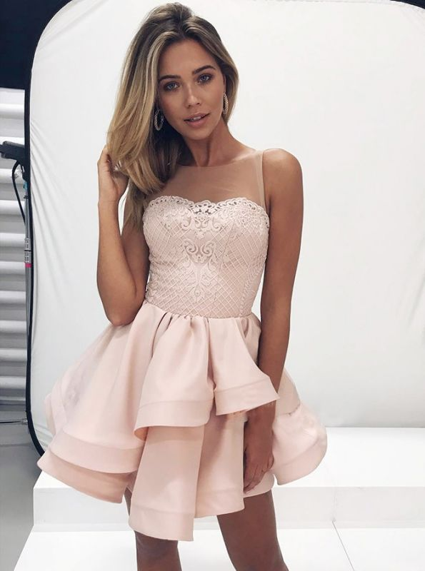 Lovely Sleeveless 2020 Homecoming Dresses | Pink Lace Layers Short Party Dress