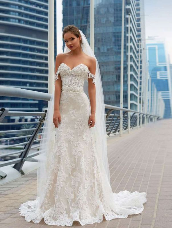 Glamorous Off-the-Shoulder 2020 Wedding Dress Sweetheart With Lace Mermaid Bridal Gowns