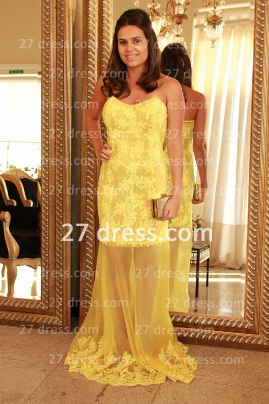 Applique Long Lace Prom Dresses 2020 with Vestidos De Fiesta Yellow Gowns for Evenings Sweetheart Mermaid Prom