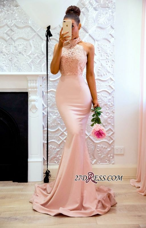 Halter Elegant Lace Mermaid Applique Sweep Train Prom Dress BA7727
