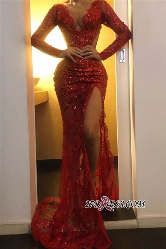 Long-sleeve Sexy Sheath Red V-neck Sequin Side-slit Prom Dress
