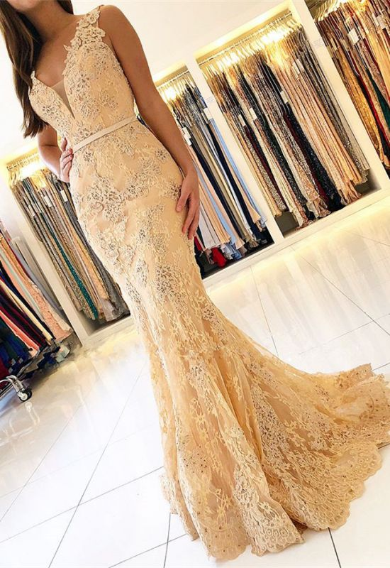 Charming Sleeveless Mermaid Evening Dresses | 2020 Lace Prom Gowns On Sale BC0389