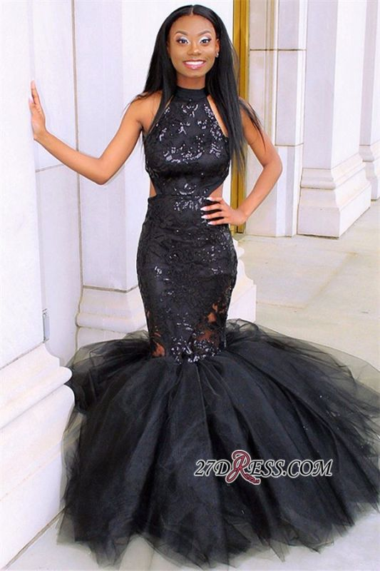 Black Halter Sleeveless Tulle Evening Gown | Sexy Applique Mermaid Prom Dress