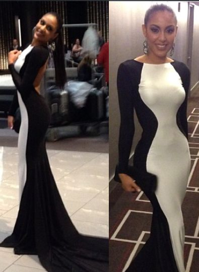 New Sexy White and Black Prom gown 2020 Long Sleeves Womens Evening Party dresses